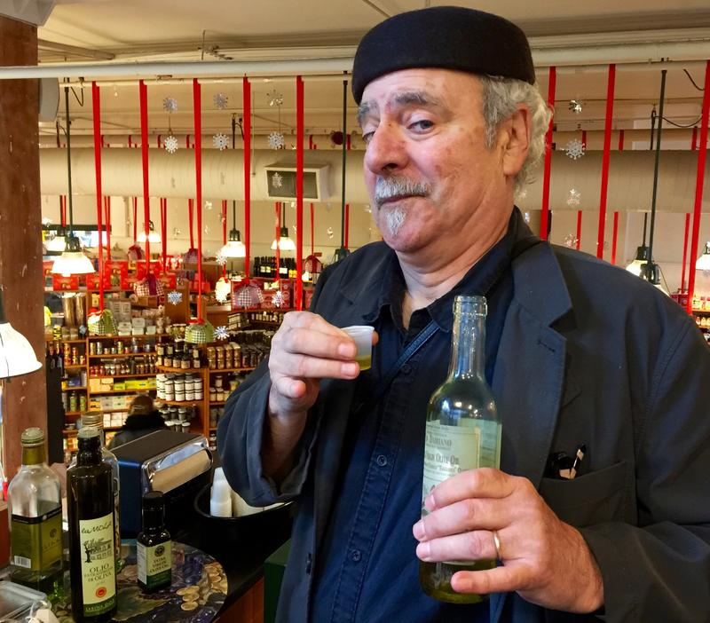 Sampling EVOO at Delaurenti's.  An amusing little oil – cheeky yet not impertinent.