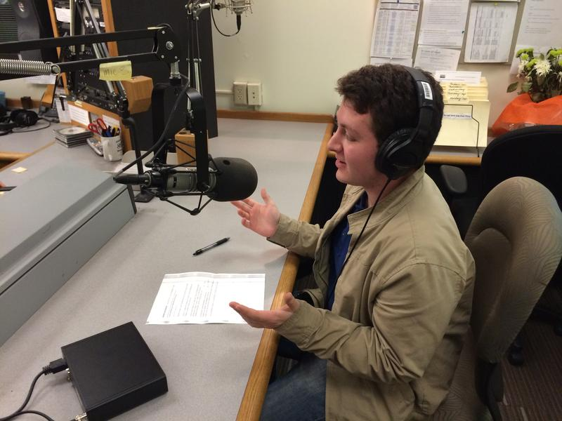Adam Zacharia in the KPLU studios