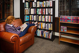 One of several places to curl up with a book at Seattle's new independent library, Folio.  A basic membership costs $125 a year.