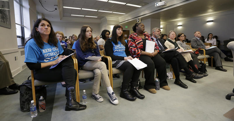 Students, parents, advocates and others fill a hearing room during testimony on two proposed fixes to the state's charter school system on Tuesday.