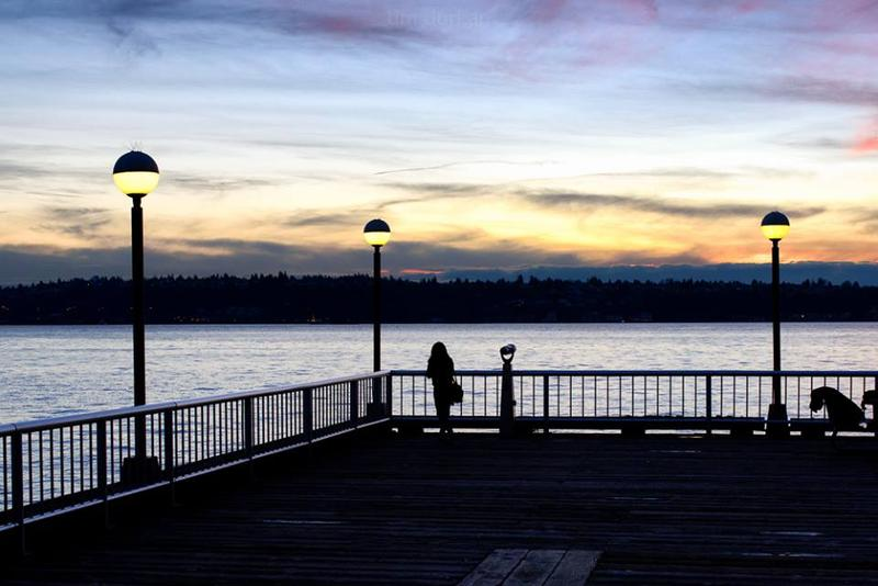 A Seattle pier on the waterfront of Eliott Bay, looking west, Jan 6th, 2016.