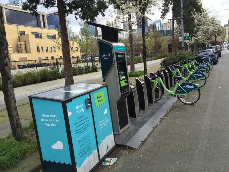 The Pronto bike share kiosk at 2nd and Vine in Seattle's Belltown neighborhood, on March 14th, 2016.