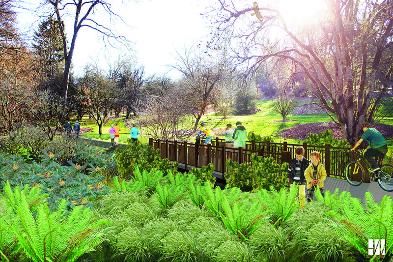An artist's rendering of what the new Arboretum Loop Trail will look like upon completion.