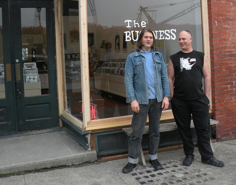 Karl Blau (left) and Doug Cassidy (right) in front of the former home of the Anacortes Music Channel.