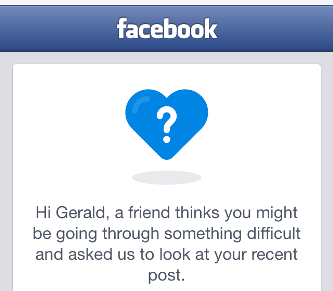 A screen on Facebook someone might see if someone else thinks that they are in trouble