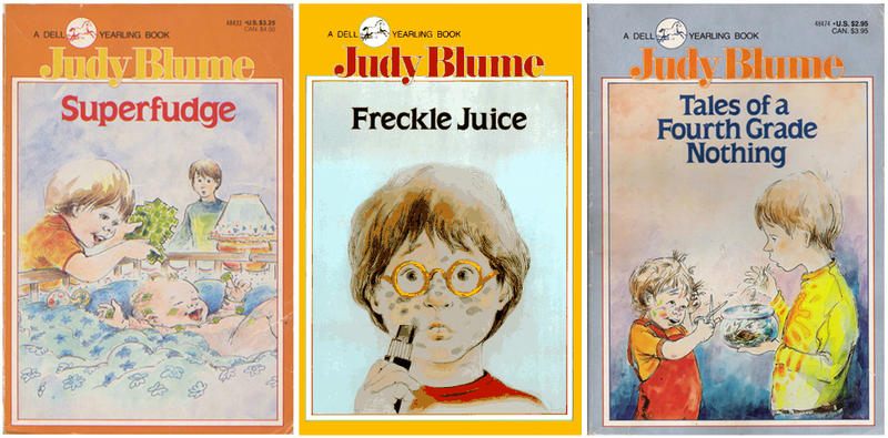 A collection of Judy Blume books from the 1970s.