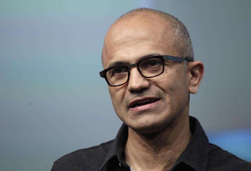 FILE- In this May 20, 2014 file photo, Satya Nadella, CEO of Microsoft, talks during the introduction the Surface Pro 3 tablet device at a media preview in New York.