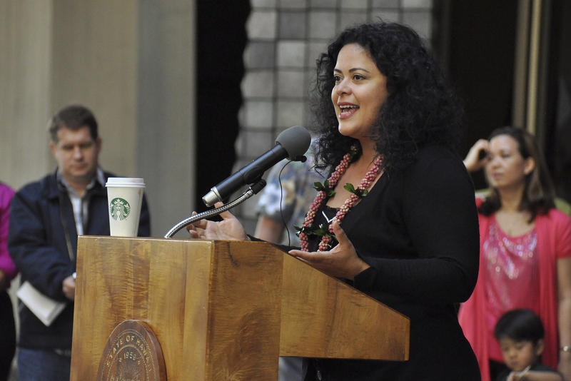 Maya Soetoro-Ng speaks at a rally for state-funded preschool at the Hawaii State Capitol in 2013. She'll visit Mercer Island this weekend to award a scholarship named for her mother, who graduated high school there in 1960.