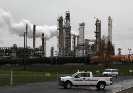 The Tesoro refinery is one of two on March Point in Anacortes that will be targeted this weekend by activists who want society to transition more quickly away from fossil fuels.