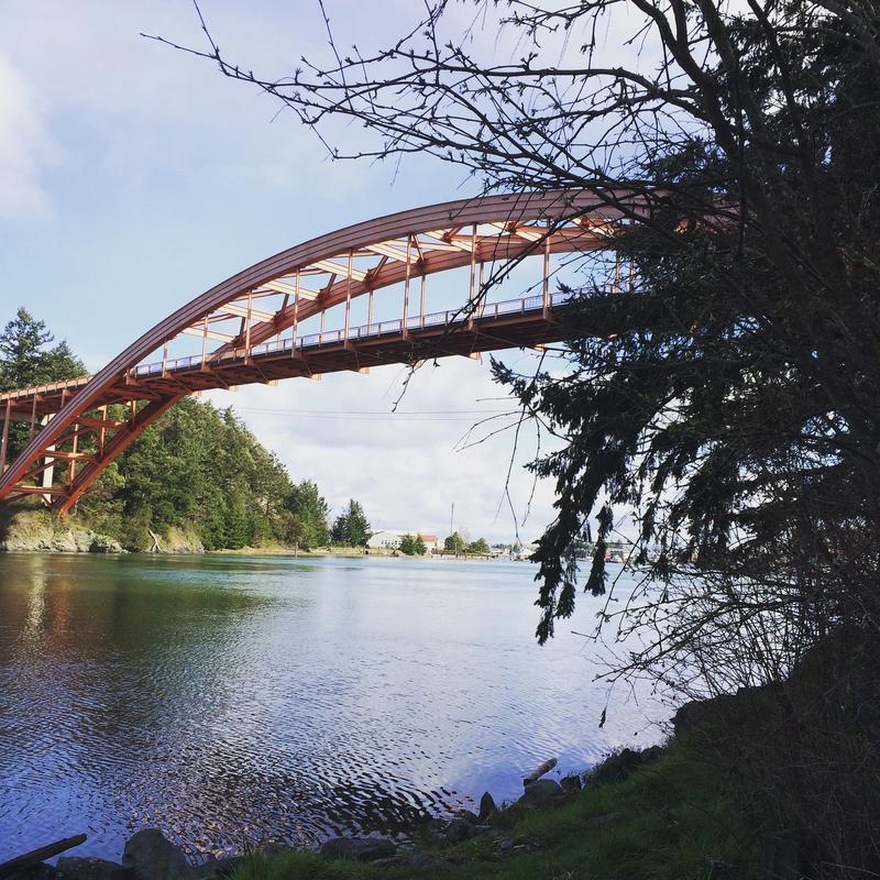 The Rainbow Bridge spans the Swinomish Channel.