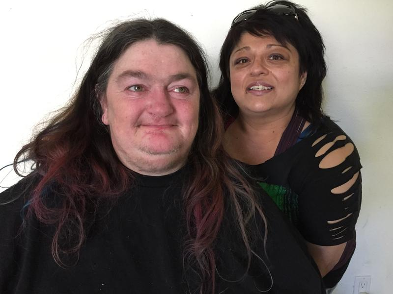Victoria Blacktongue and her long time friend, Tara Salazar. Blacktongue is trying to regain contol over her house and her life. Since April, 2014, Seattle Police have visited her home 23 times.  Salazar is trying to help.