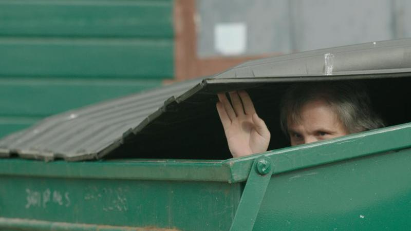 Joe Caferro, a.k.a. Beef, hiding in a dumpster, hoping to make a tag.