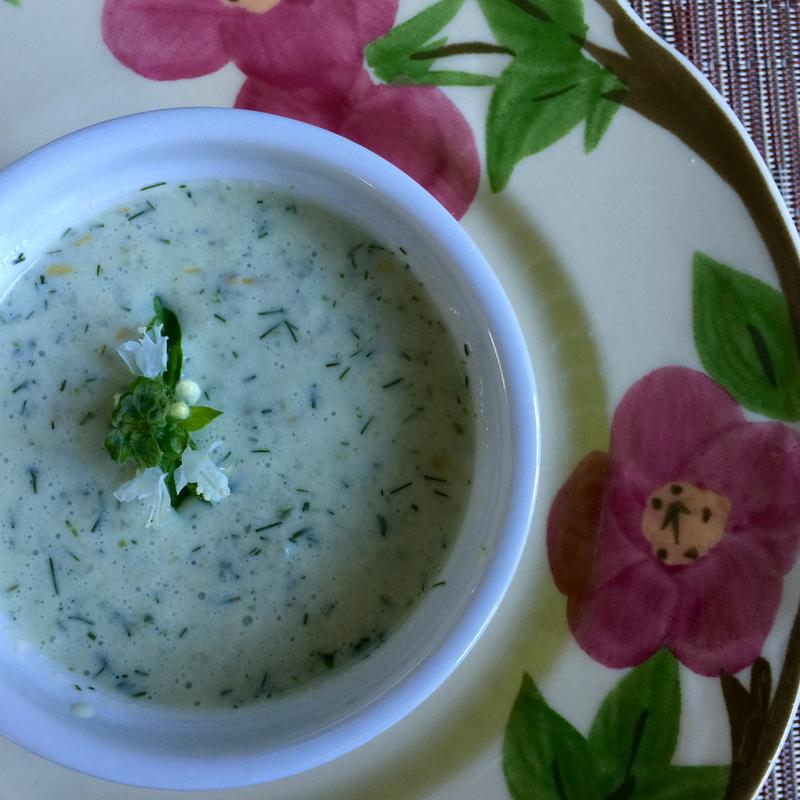 Nancy made this chilled cucumber soup. Recipe below.
