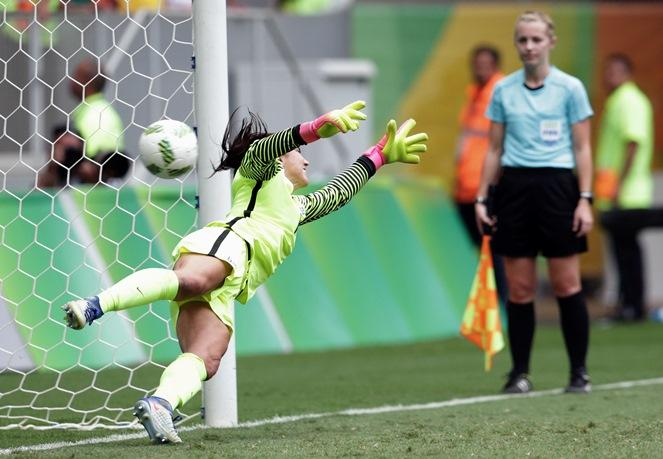 8c4604b87 United States goalkeeper Hope Solo fails to stop a penalty during a penalty  shoot-out in the quarter-final match of the women s Olympic soccer  tournament ...