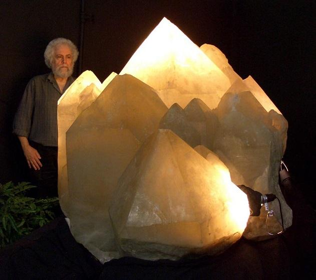 Richard Berger and an ancient, giant crystal from Namibia. The mineral is beleived to be more than half a billion years old.