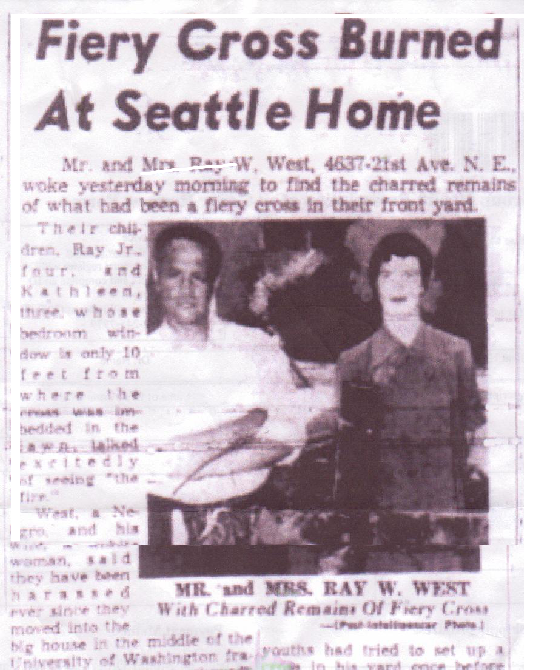 Marion and Ray West, after a wooden cross was found burning in the front yard of their home in Seattle's University District.