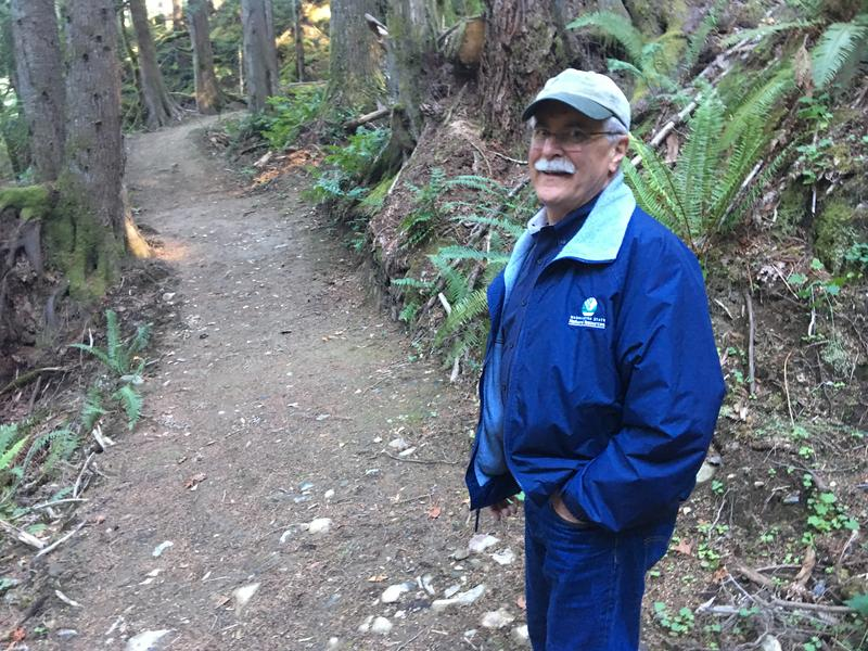 Commissioner of Public Lands Peter Goldmark on the new Granite Creek Connector Trail near the Middle Fork of the Snoqualmie River.