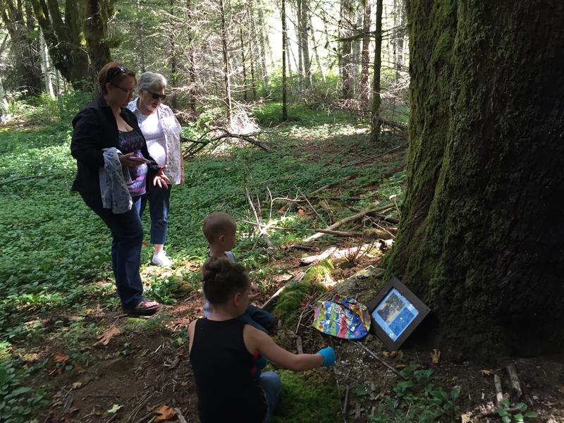 Debbie Dobson, far left, visits the tree where her father's ashes are scattered on Aug. 13, 2016. Dobson, along with her grandchildren and mother, Pat Turner, stand near where Dobson's childhood home once stood in Grisdale.