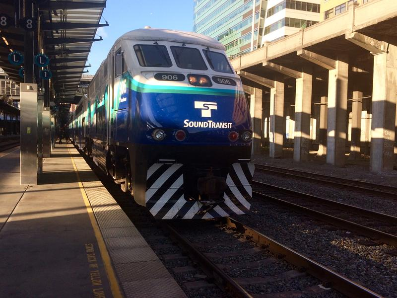 A southbound Sounder train waits at King Street Station in Seattle.