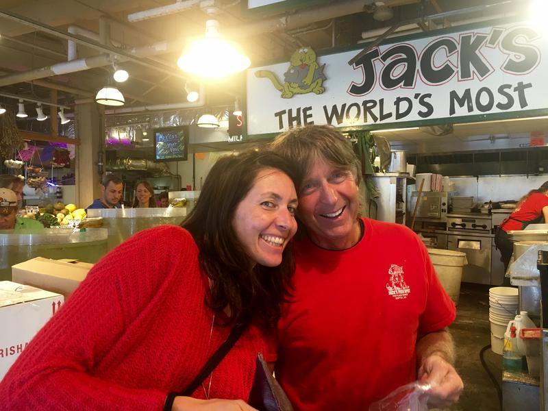 "Italian tour guide Natalia Mandelli -- a friend of our ""Going Places"" team -- with Jack Mathers at Jack's Fish Spot in Seattle's Pike Place Market"