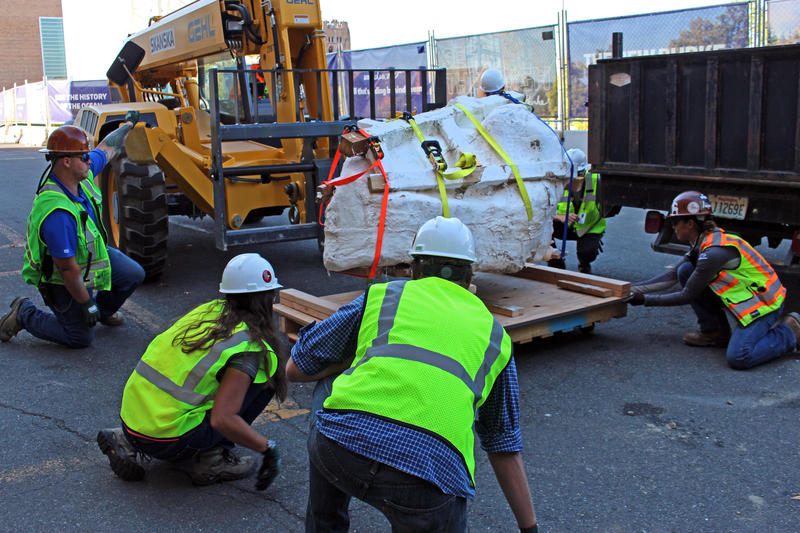 : Burke Museum paleontologists and crew members from Skanska carefully move the 3,500-pound T. rex skull using a forklift.  Credit: Photo courtesy Burke Museum.