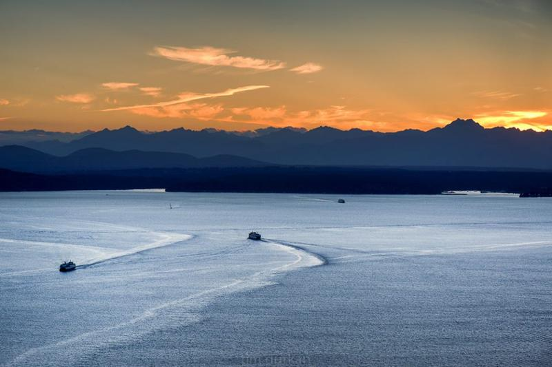 A September sunset on Puget Sound with the Olympic Mountains in the background.