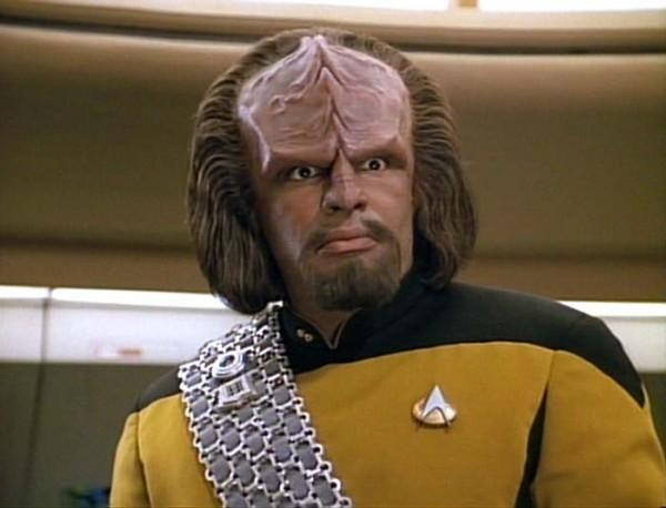 "Worf, a Klingon character in the television show, ""Star Trek: The Next Generation."""