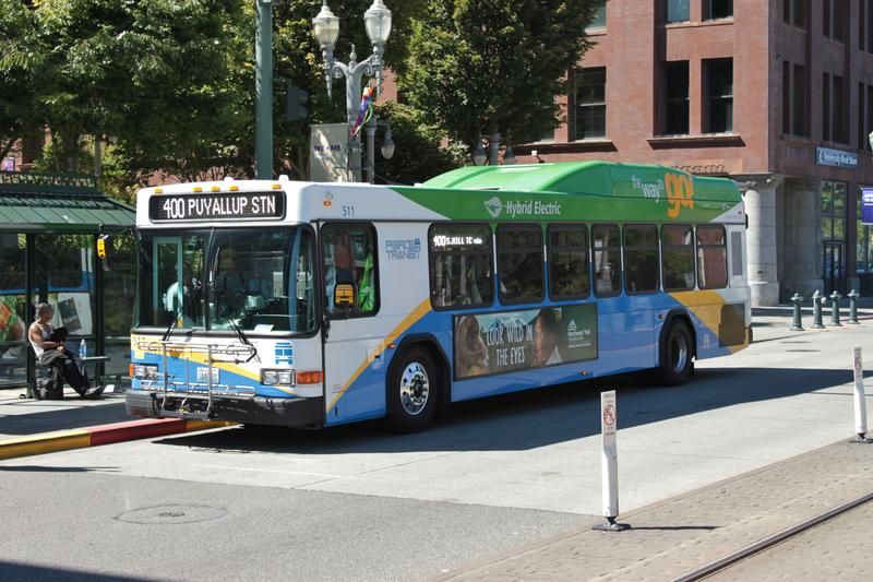 Unlike the bus pictured, all 176 Pierce Transit buses are expected to be outfitted with collision avoidance technology by early next year.