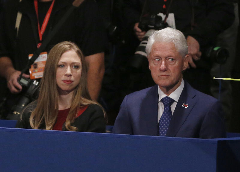 Chelsea Clinton, daughter of Hillary Clinton and former President Bill Clinton watch during the second presidential debate between Republican presidential nominee Donald Trump and Democratic presidential nominee Hillary Clinton at Washington University.