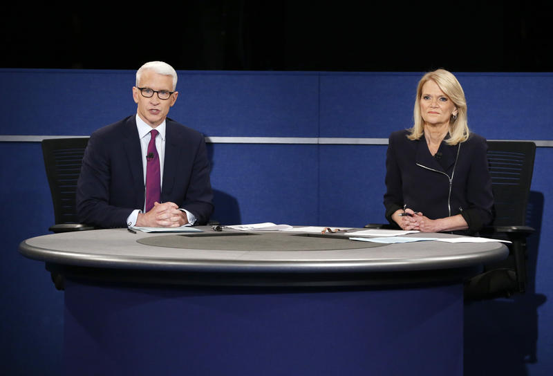 Anderson Cooper, of CNN, and Martha Raddatz, of ABC News, moderate the second presidential debate between Republican presidential nominee Donald Trump and Democratic presidential nominee Hillary Clinton at Washington University in St. Louis.
