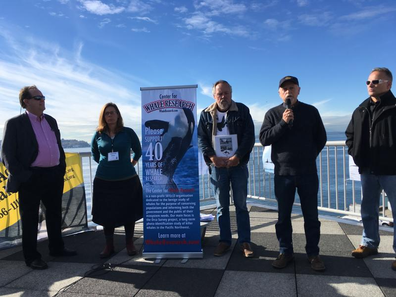 Among the speakers at Friday's press conference were researcher Ken Balcomb (center) as well as author David Neiwert (far left) and former Seaworld trainer Dr. Jeffrey Ventre (far right.) All are advocating dam removal to help save endangered orcas.