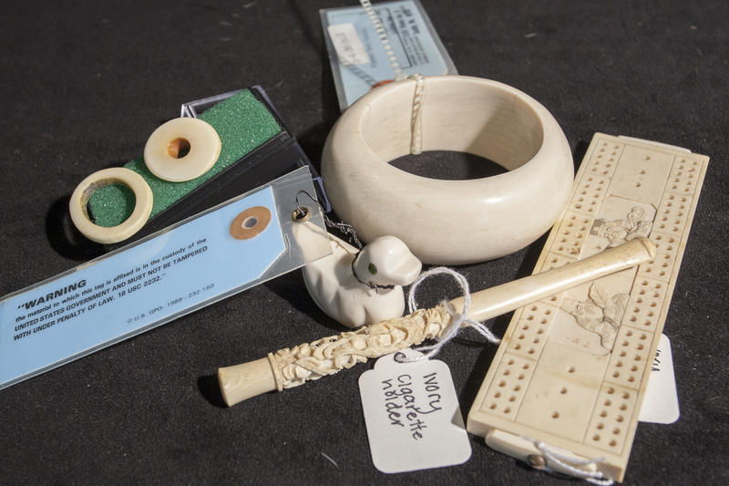 Assorted ivory knick-knacks are examples of the kinds of products tourists should avoid if they don't want to support illegal wildlife trafficking.