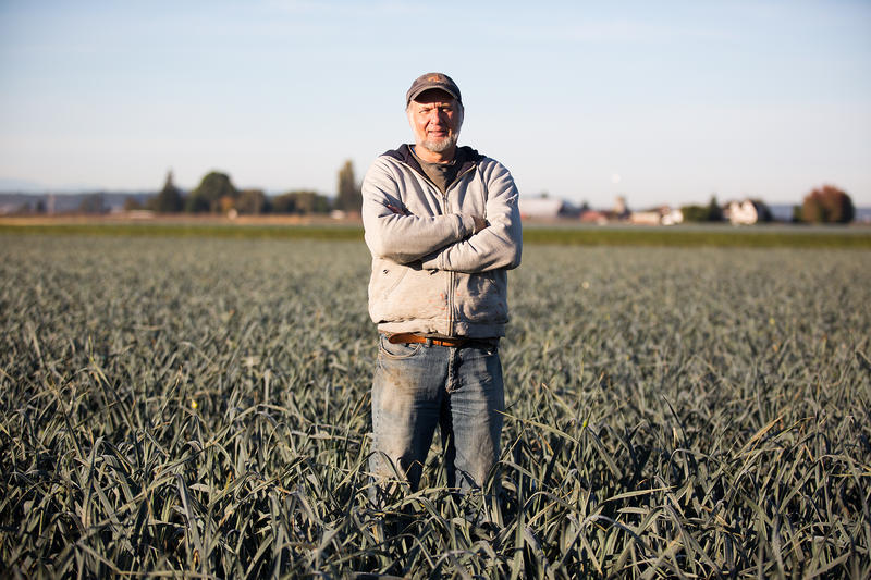 "Ray DeVries, owner and operator of Ralph's Greenhouse, based outside of Mt. Vernon, stands in a field of leeks. Leeks are DeVries biggest seller, earning himself the title of ""The Leek King."" Devries grows a variety of cold weather crops."