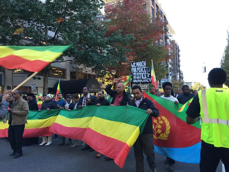 Ethiopian immigrants marched from the Gates Foundation near the Seattle Center to the federal courthouse on 2nd Avenue.