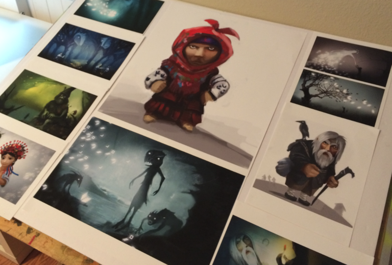 "Drawings of characters featured in the video game ""The Forest Song"""