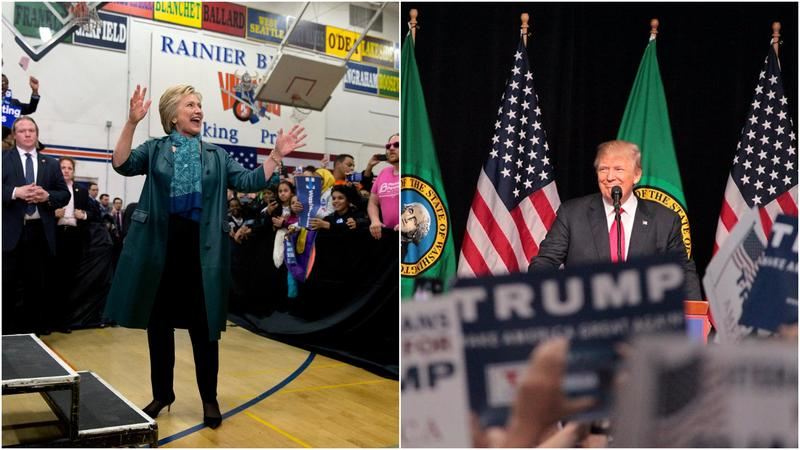 Hillary Clinton arrives for a rally at Rainier Beach High School in Seattle last March, and Donald Trump speaks to supporters in Spokane last May.