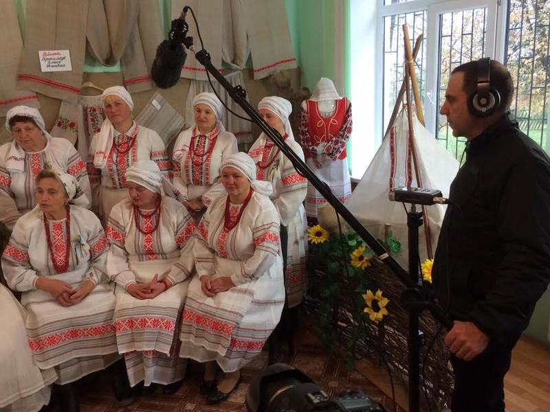 Vesce gathers sound from a group of women in a Ukrainian village
