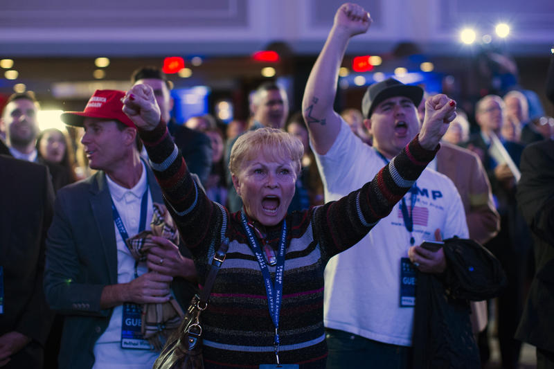 Supporters of Republican presidential candidate Donald Trump cheer during an election night rally, Tuesday, Nov. 8, 2016, in New York.