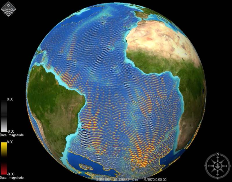 Internal tidal waves in the Atlantic Ocean. Oceanographers measure their speed, or travel time, from space using satellites to monitor global ocean warming. The waves are a natural phenomenon like the surface tide, and thus they are harmless to whales.
