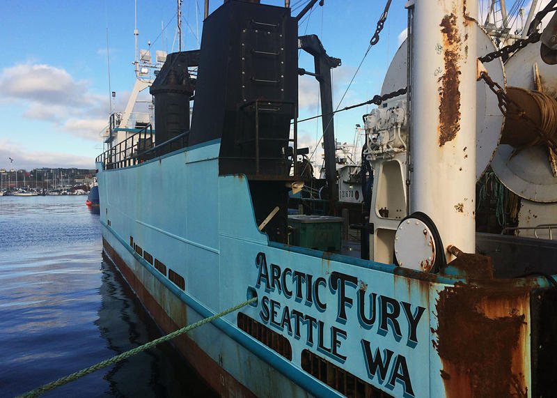 A North Pacific fishing boat sits at Fisherman's Terminal on Lake Union.