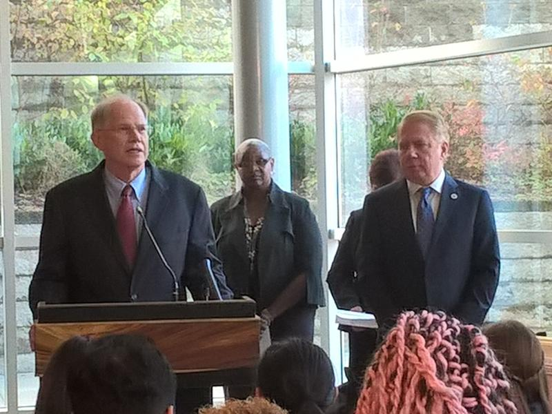 Seattle Public Schools Superintendent Larry Nyland addresses the crowd with Mayor Ed Murray standing by.