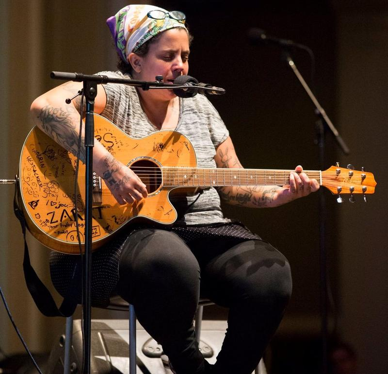 Singer-songwriter Kimya Dawson performing at Sound Effect's A Friend In Need live show in May 2016.