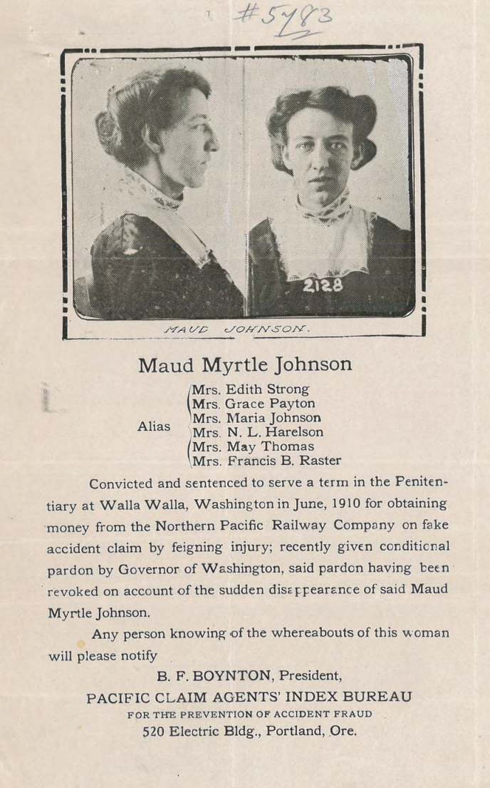 The wanted poster for Maud Myrtle Johnson.