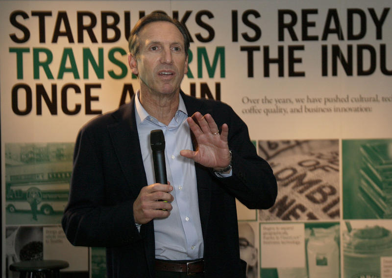 Starbucks Chairman Howard Schultz at a meeting with analysts and media in New York on Feb. 17, 2009.