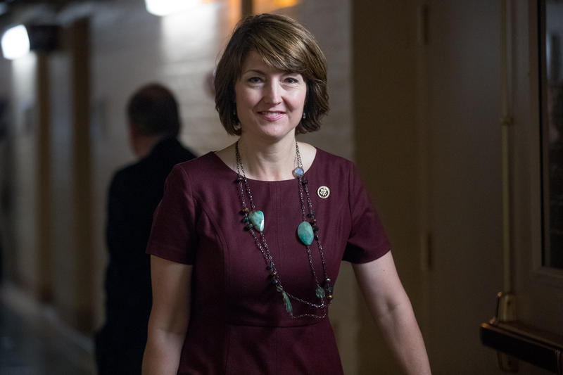 Rep. Cathy McMorris Rodgers, R-Wash., walks to a closed-door meeting of House Republicans on Capitol Hill in Washington, Tuesday, Sept. 27, 2016.