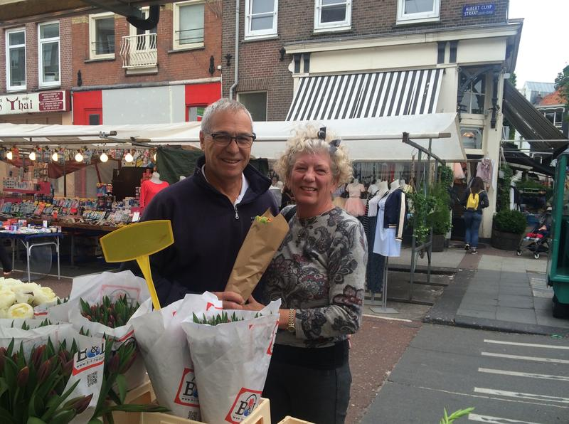 Michael and Debbie Campbell at a market in the Netherlands.
