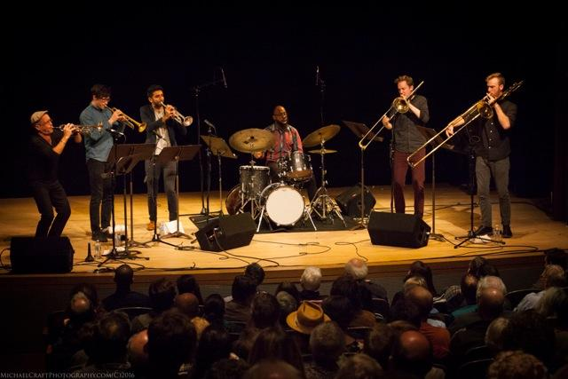 Dave Douglas (left), with The Westerlies and drummer Anwar Marshall