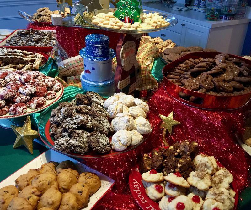 Cookie Exchange Booty: Gingersnaps, red velvet, spritz, biscotti, waffle-cookies, mini-shortbread.