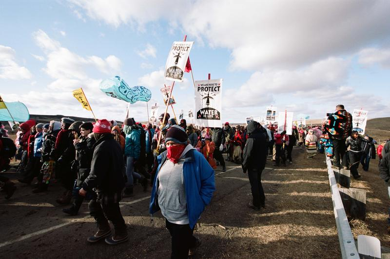 Activists walk to Oceti Sakowin camp after a direct action in Cannon Ball, North Dakota on November 18.