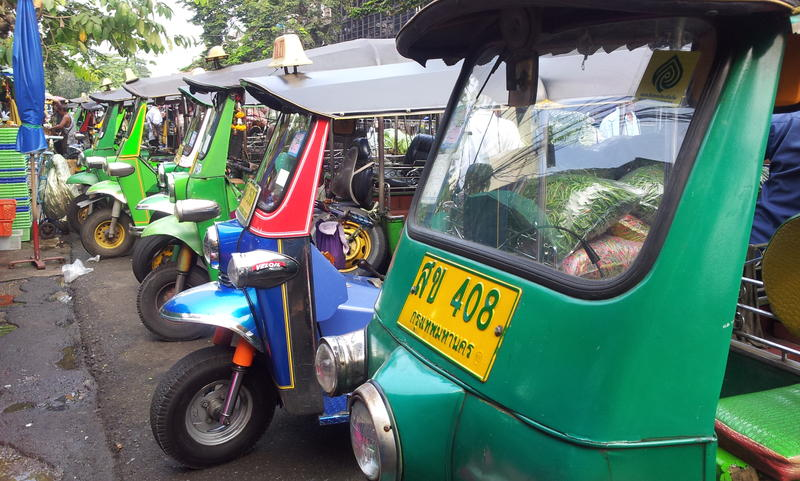 Tuk tuk taxis will get you around Bangkok.